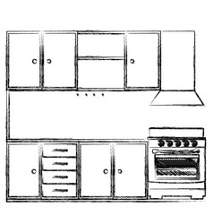 monochrome sketch of kitchen cabinets with stove vector image