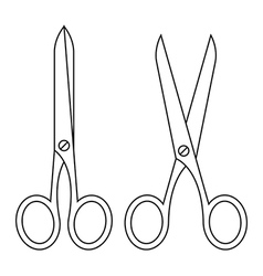 Open and closed scissors vector image