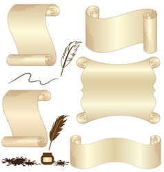 Parchment set with feather isolated vector image