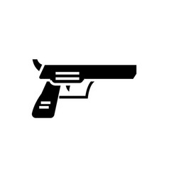 revolver pistol icon black vector image
