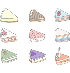 Set of nine fancy cakes vector image