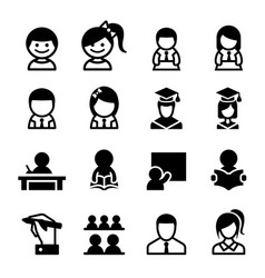 student learning icon set vector image vector image