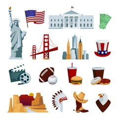 USA Flat Icons Set vector image vector image