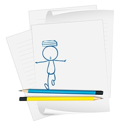 A paper with a sketch of a boy with books above vector image vector image