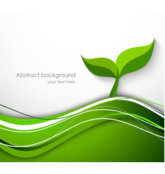 Abstract background in green color with plant vector image vector image