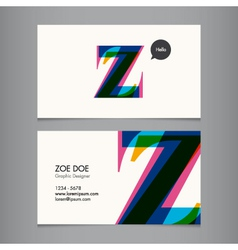 Business card template letter Z vector image vector image