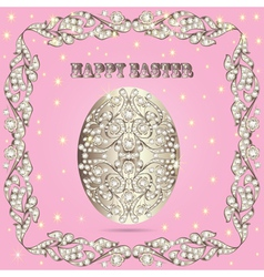 card with Easter eggs and precious stones vector image