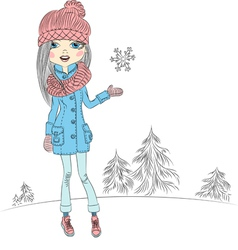 fashionable hipster girl in winter vector image