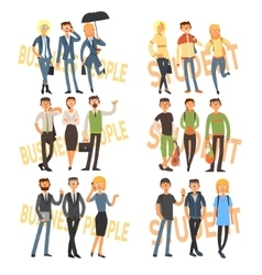 Group Cartoon Business People and Students vector image