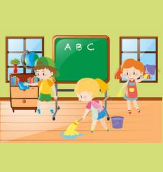 children help cleaning classroom vector image