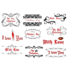 Love and Valentines day headlines vector image vector image