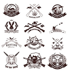 Set of hunting labels emblems and design elements vector image