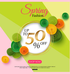 Spring fashion sale banner with paper flowers for vector