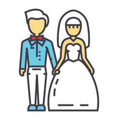 wedding couple bride and groom marriage just vector image