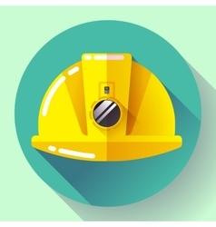 Yellow construction worker helmet with flashlight vector image
