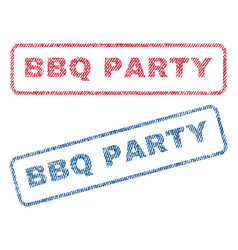Bbq party textile stamps vector