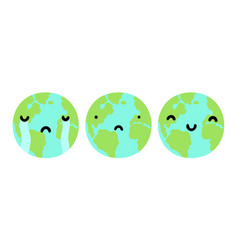 three planets earth with different faces vector image