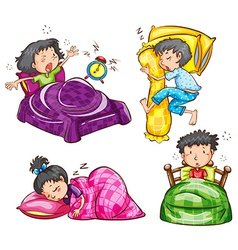 A group of kids at the bedroom vector