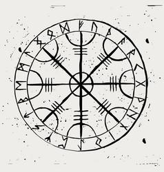 Aegishjalmur scandinavian runic amulet vector