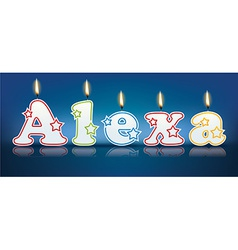 Alexa written with burning candles vector