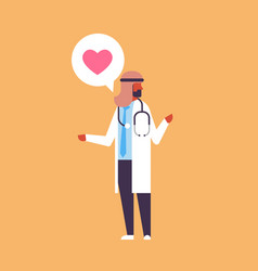 arabic doctor heart icon medical online vector image