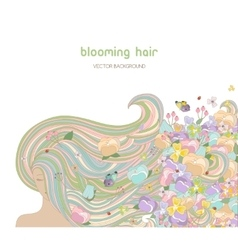 Beautiful woman with Blooming hair vector image