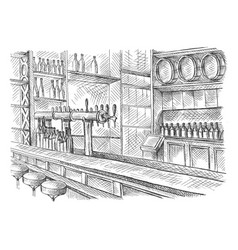Beer bar pub long table with chairs vector