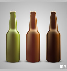 Beer bottle set color vector