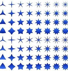 Blue star symbol set vector image