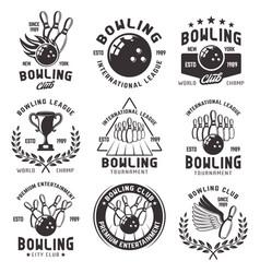 bowling set emblems badges and labels vector image