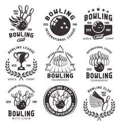 bowling set of emblems badges and labels vector image