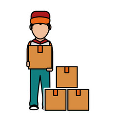 box and man design vector image