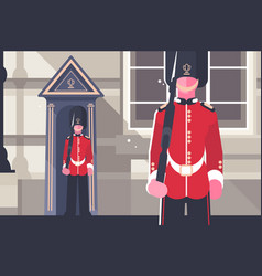 british royal guardsman queens soldier character vector image