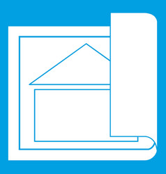 building plan icon white vector image