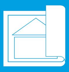 Building plan icon white vector