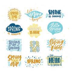 Bundle of spring lettering or inscriptions written vector