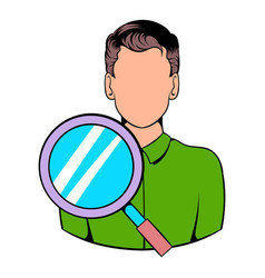 Businessman and magnifying glass icon cartoon vector