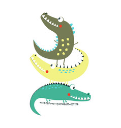 Cartoon crocodile print vector