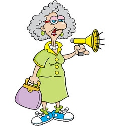 Cartoon old lady with a megaphone vector