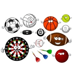 Cartoon sport game items and equipment vector