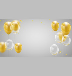 Celebration banner with gold balloons background vector