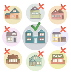 choosing right house for living compare different vector image