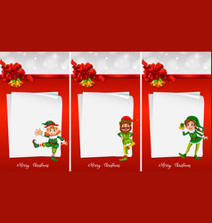 christmas note template with elf vector image