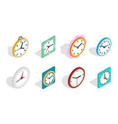 Clock icon set isometric style vector