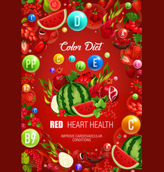 Color diet red healthy food heart health vector