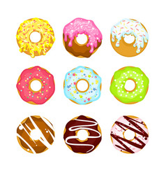 Colorful cartoon sweet donuts vector