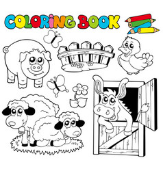 Coloring book with farm animals 2 vector