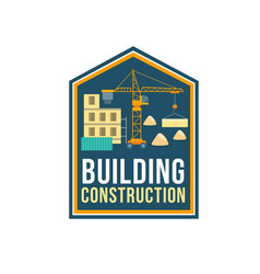 Construction company badge with building site vector