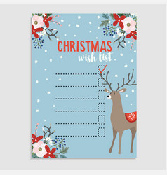 cute christmas wish list with deer winter floral vector image