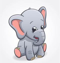 Cute elephant infant sitting and smiling baby vector